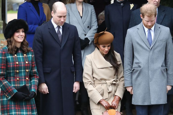 Prince William, Kate Middleton, Meghan Markle, and Prince Harry on Christmas day last year.