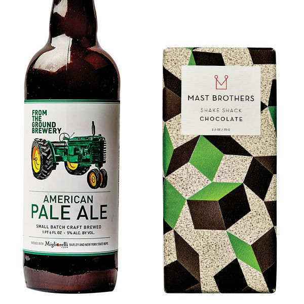 From the Ground Brewery's American pale ale (left); Mast Brothers for Shake Shack.