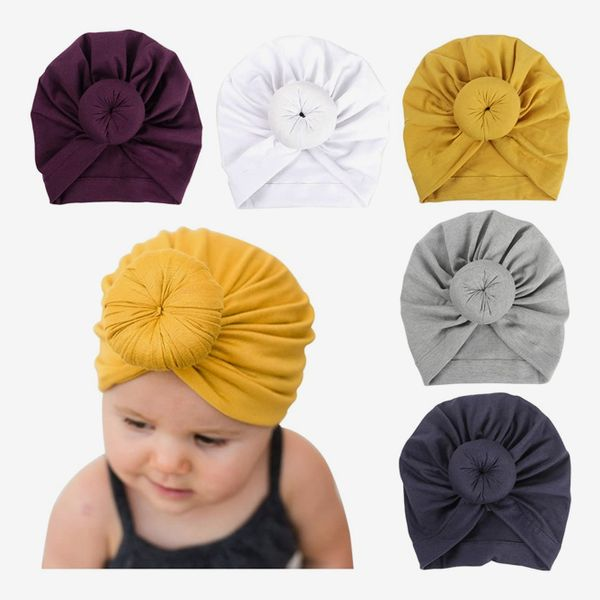 Huuflyty Baby Cotton Cloth Knotted Cap (5-Pack)