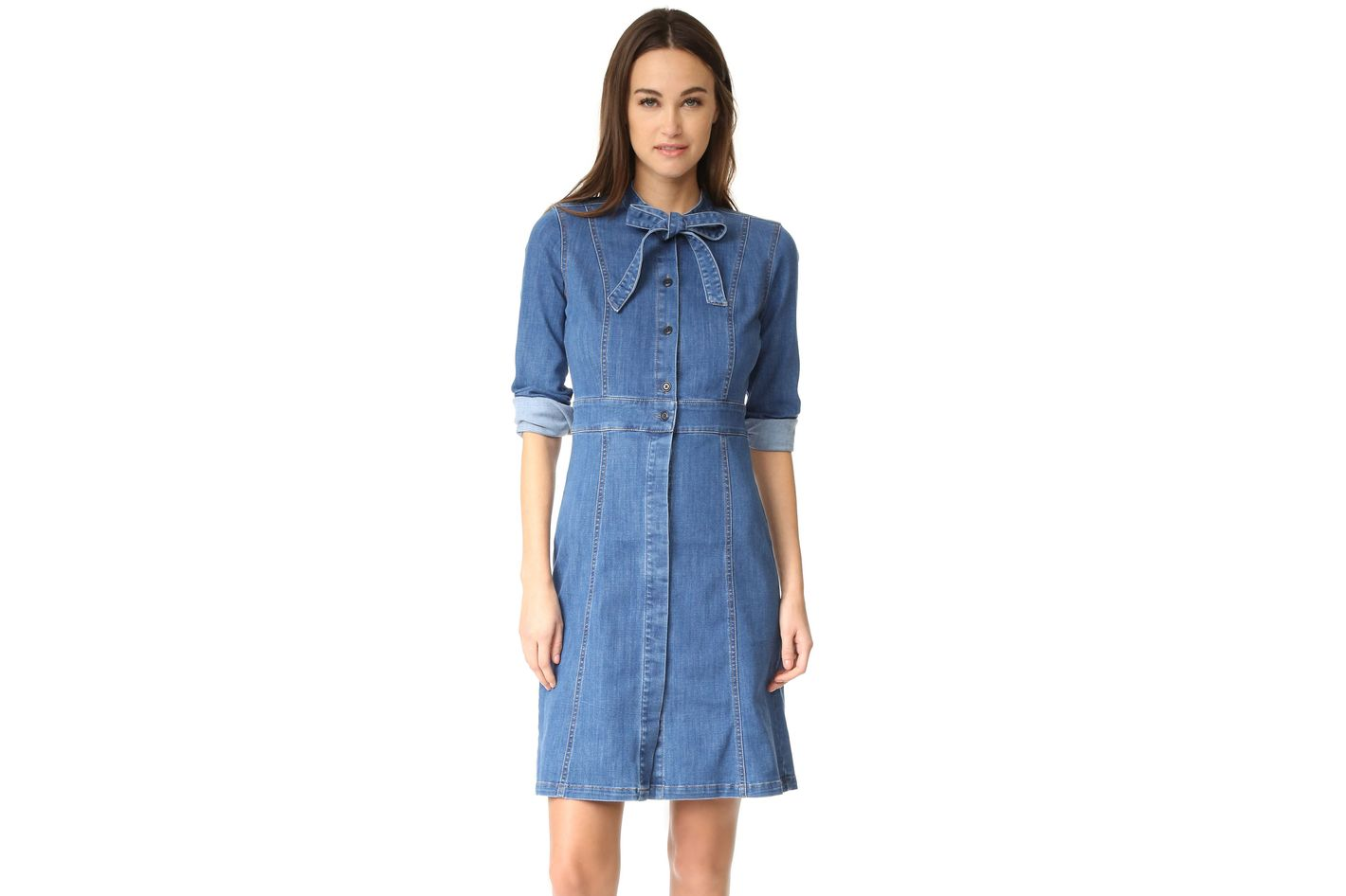 Madewell Denim Tie Neck Dress