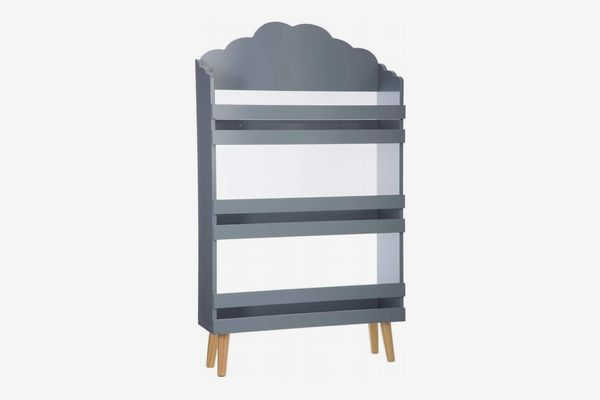 Wooden Bookcase With 3 Shelves, Grey