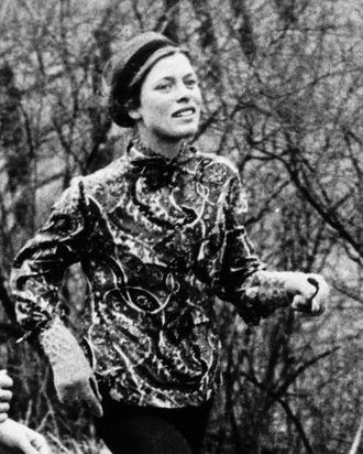 Bobbi Gibb running the 1967 Boston Marathon. The year prior, she became the first woman to finish the race.