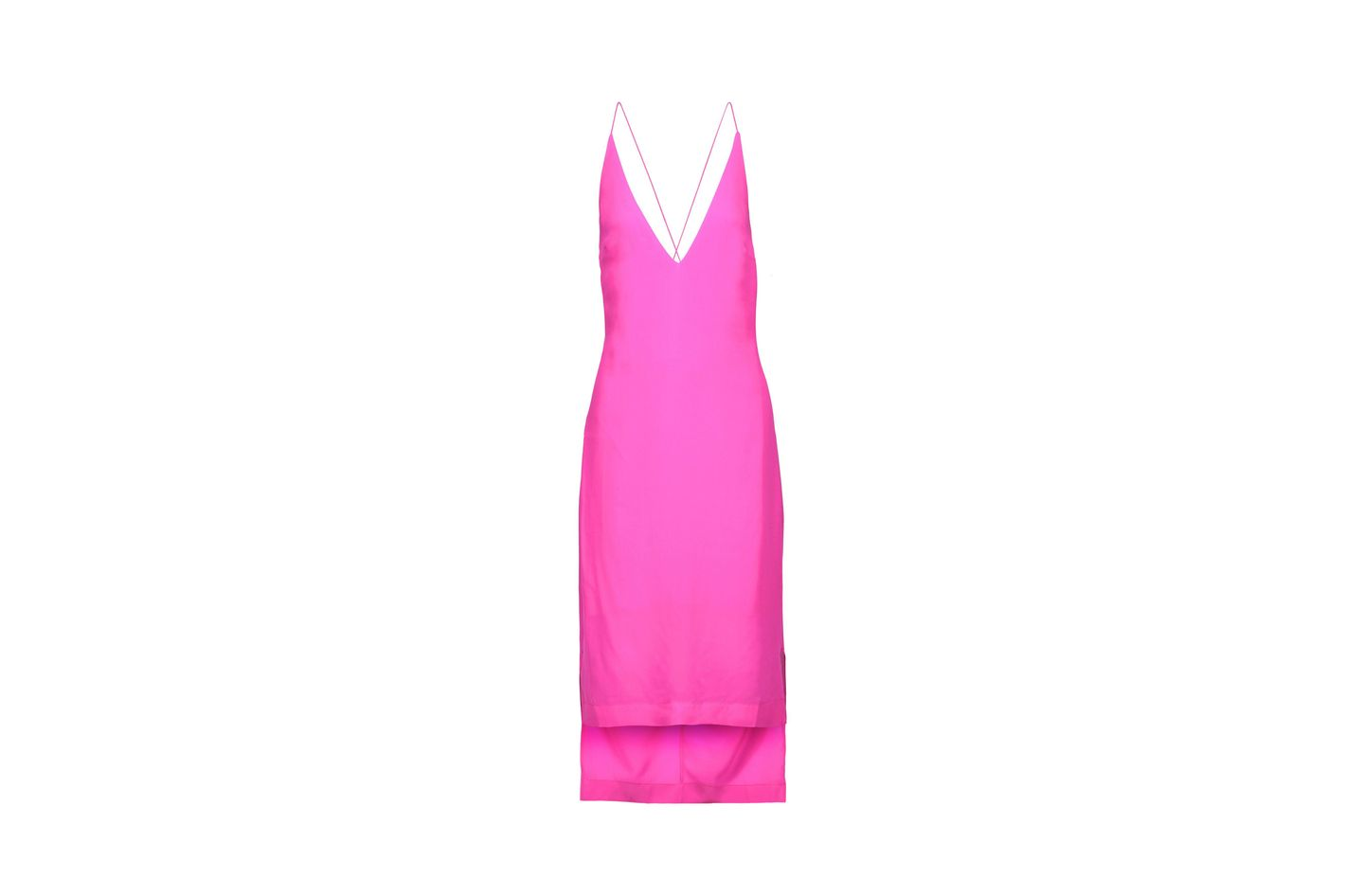 Dion Lee cutout neon silk crepe de chine midi dress