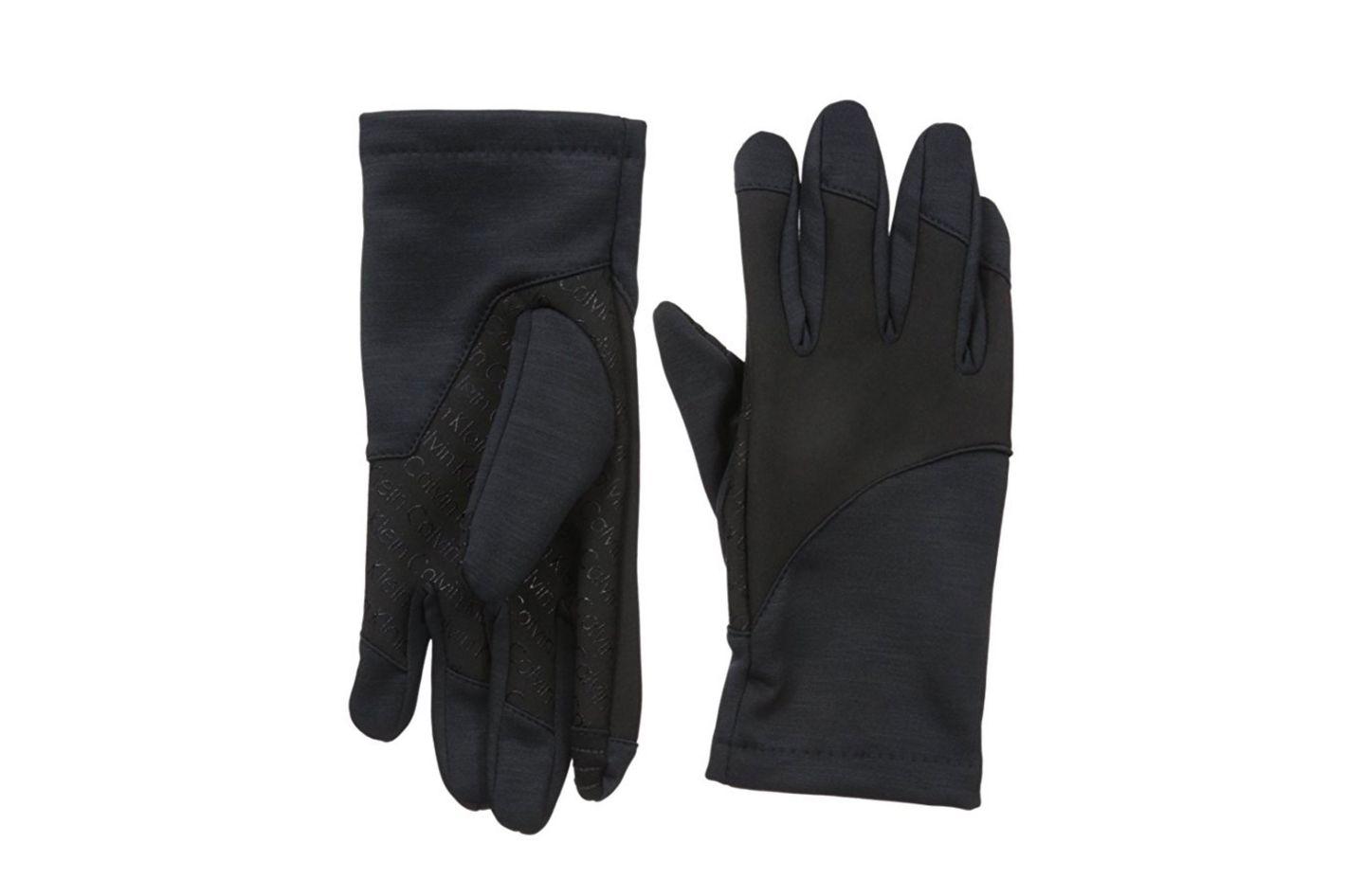 Calvin Klein Men's Pieced Logo Grip Tech Gloves With Touchscreen Technology
