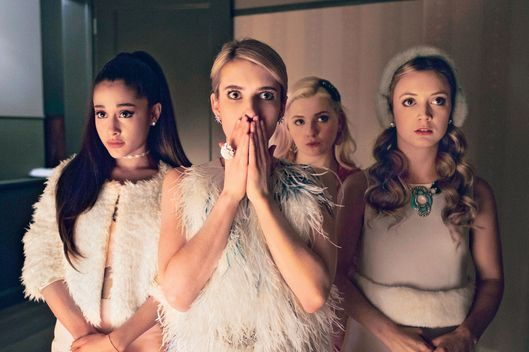 SCREAM QUEENS premiering September 2015 on FOX. Pictured L-R: guest-star Ariana Grande, Emma Roberts, Abigail Breslin and Billie Lourd.