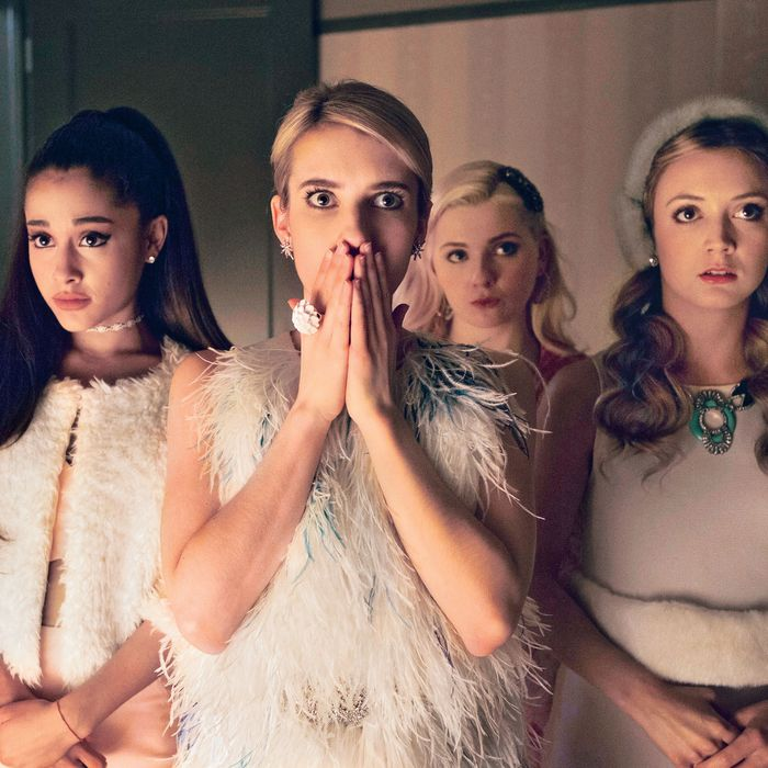SCREAM QUEENS premiering September 2015 on FOX. Pictured L-R: guest-star Ariana Grande, Emma Roberts, Abigail Breslin and Billie Lourd.