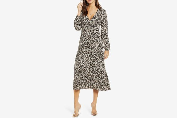 All In Favor Floral Balloon Sleeve Midi Dress