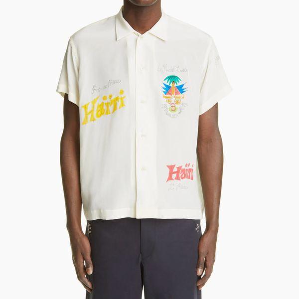 Bode Haiti Hand Painted Short Sleeve Silk Button-Up Shirt