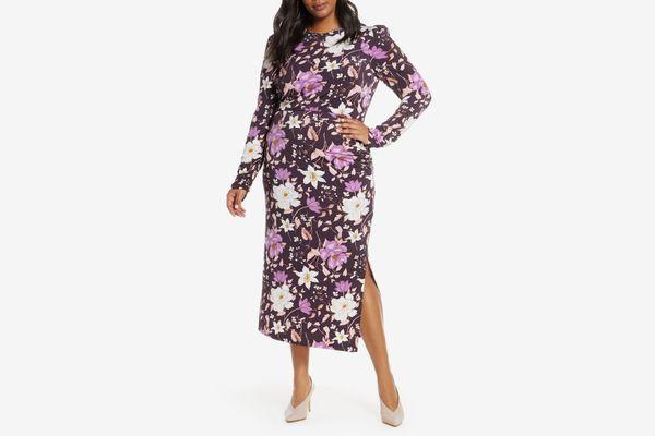 Eliza J Floral Long Sleeve Midi Dress