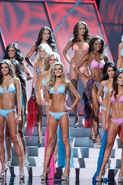 Contestants compete in the swimwear competition during the 2012 Miss USA pageant at the Planet Hollywood Resort & Casino