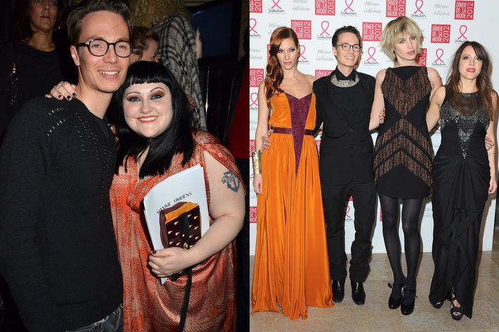 Maxime Simoens with Beth Ditto (left); with his designs (right).