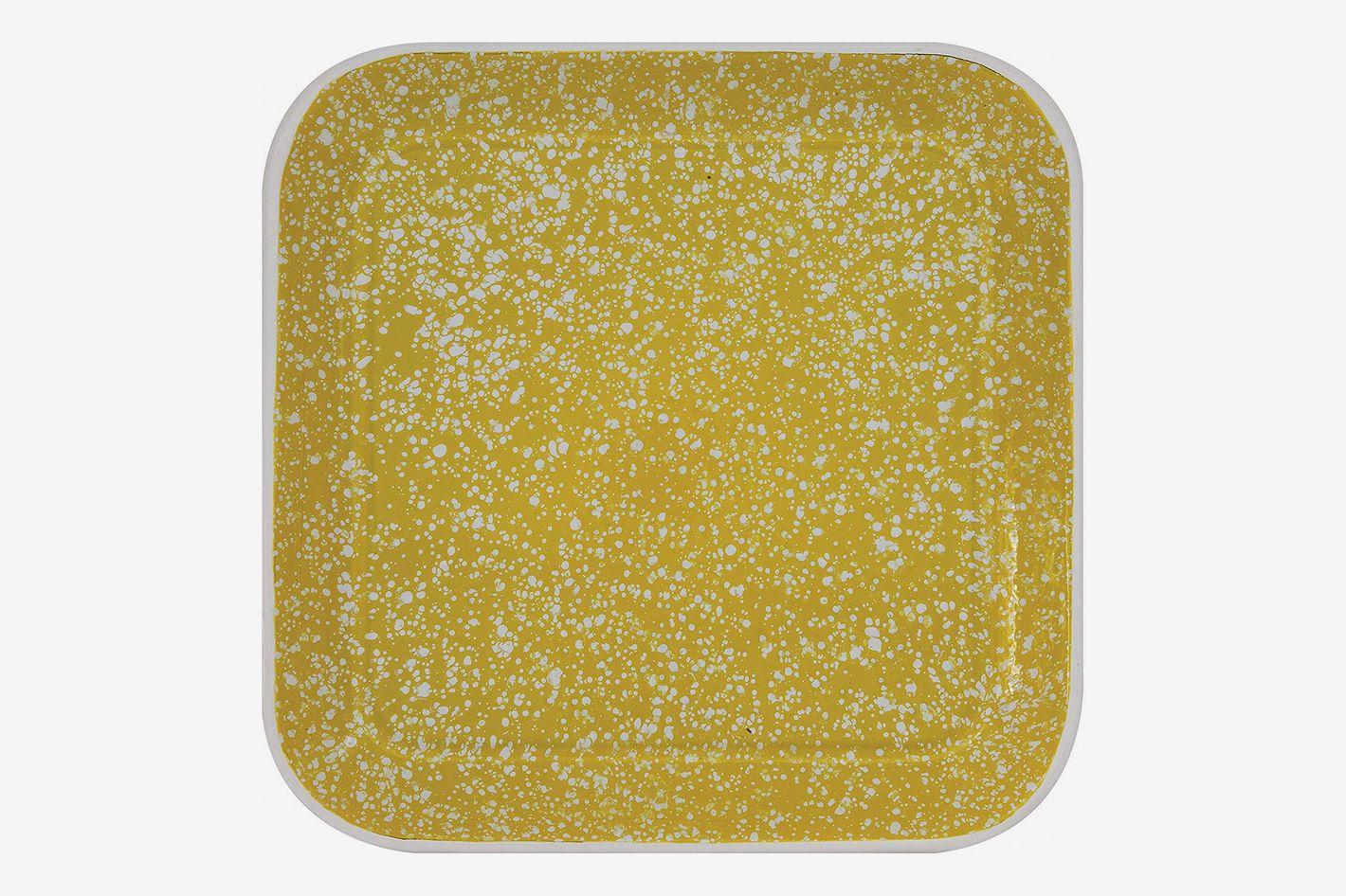 Creative Co-Op Square Yellow Splatterware Tin Platter
