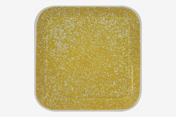 Creative Co-Op Square Yellow Splatterware Tin Platter