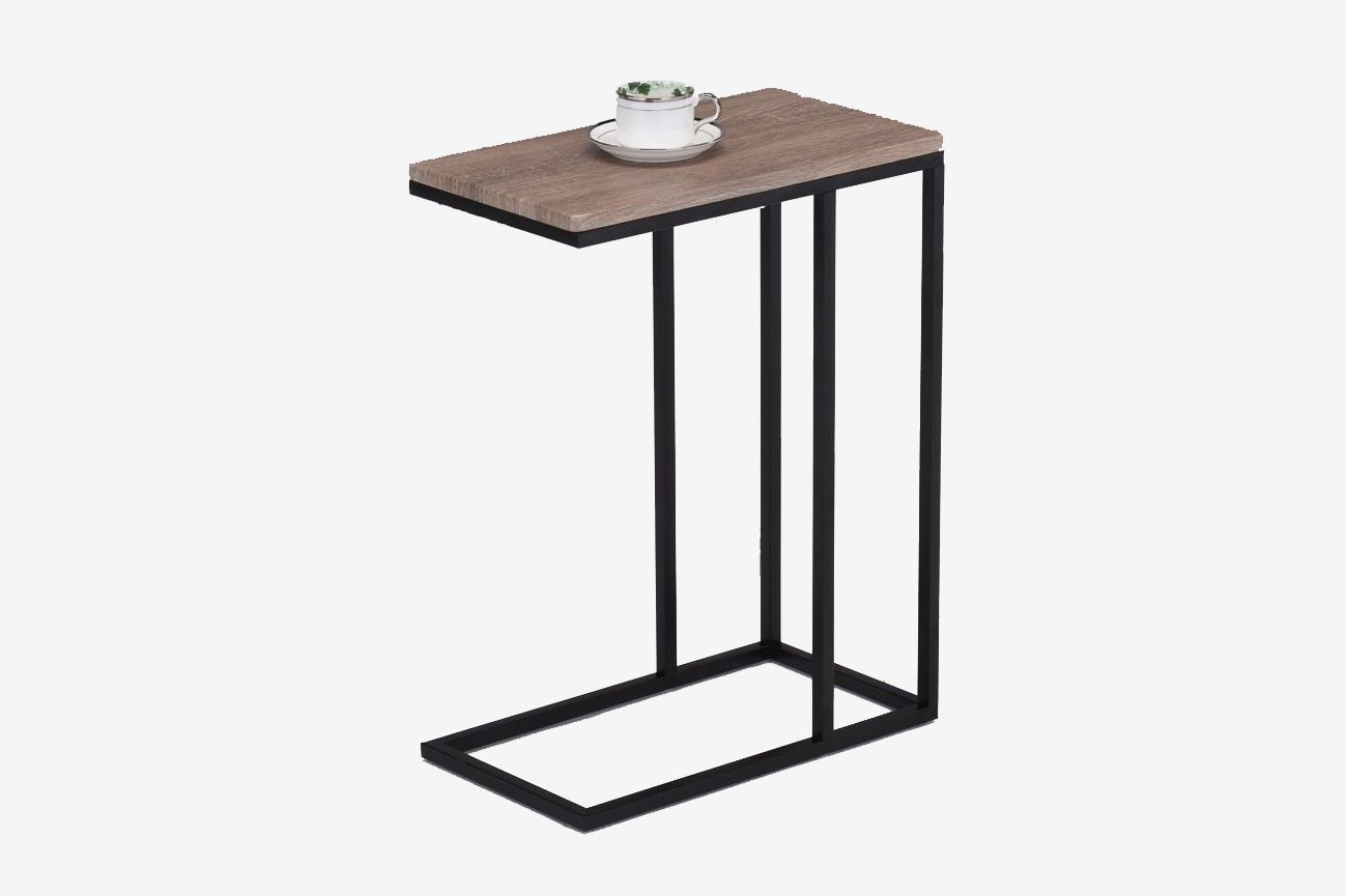 eHome Products Reclaimed Wood Look Finish Chrome Snack Side End Table