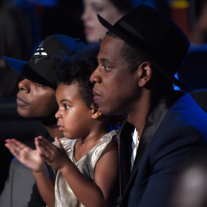 Blue Ivy and Jay Z in 2014. Photo: Kevin Mazur/MTV1415/WireImage