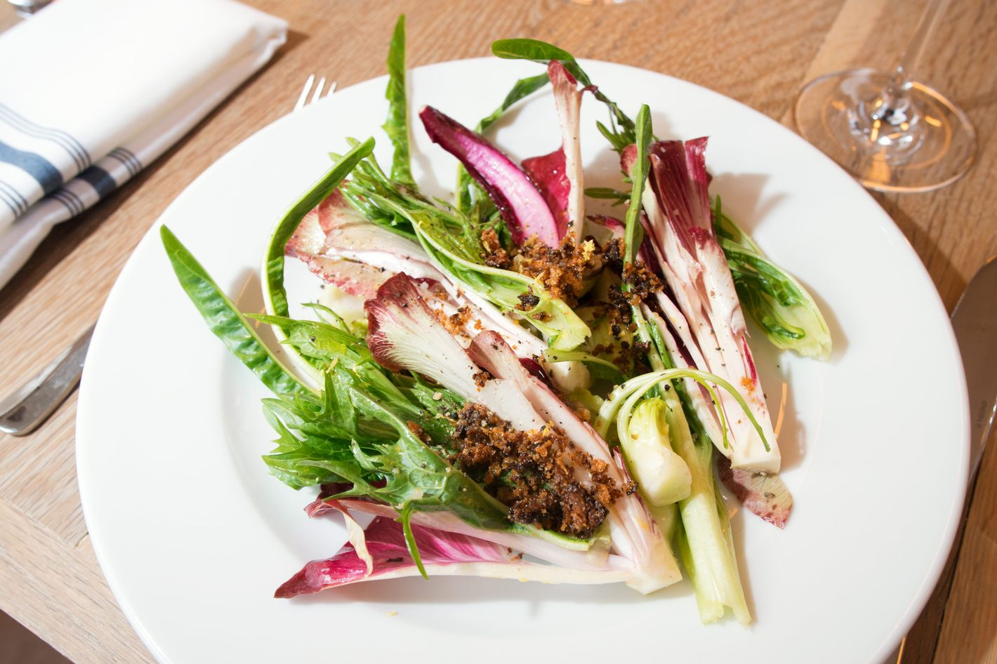 Chicories and anchovy vinaigrette.