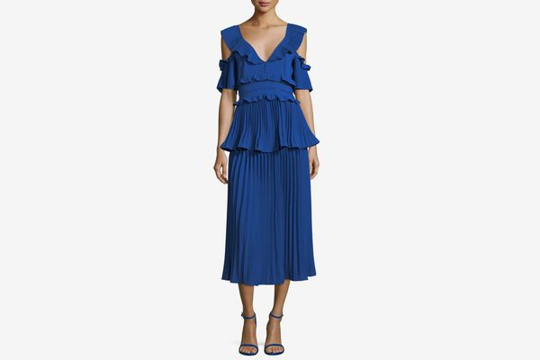 Self-Portrait Pleated Frills Midi Cocktail Dress