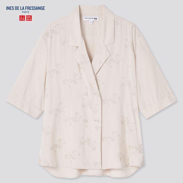 Ines de la Fressange Rayon Open Collar Blouse