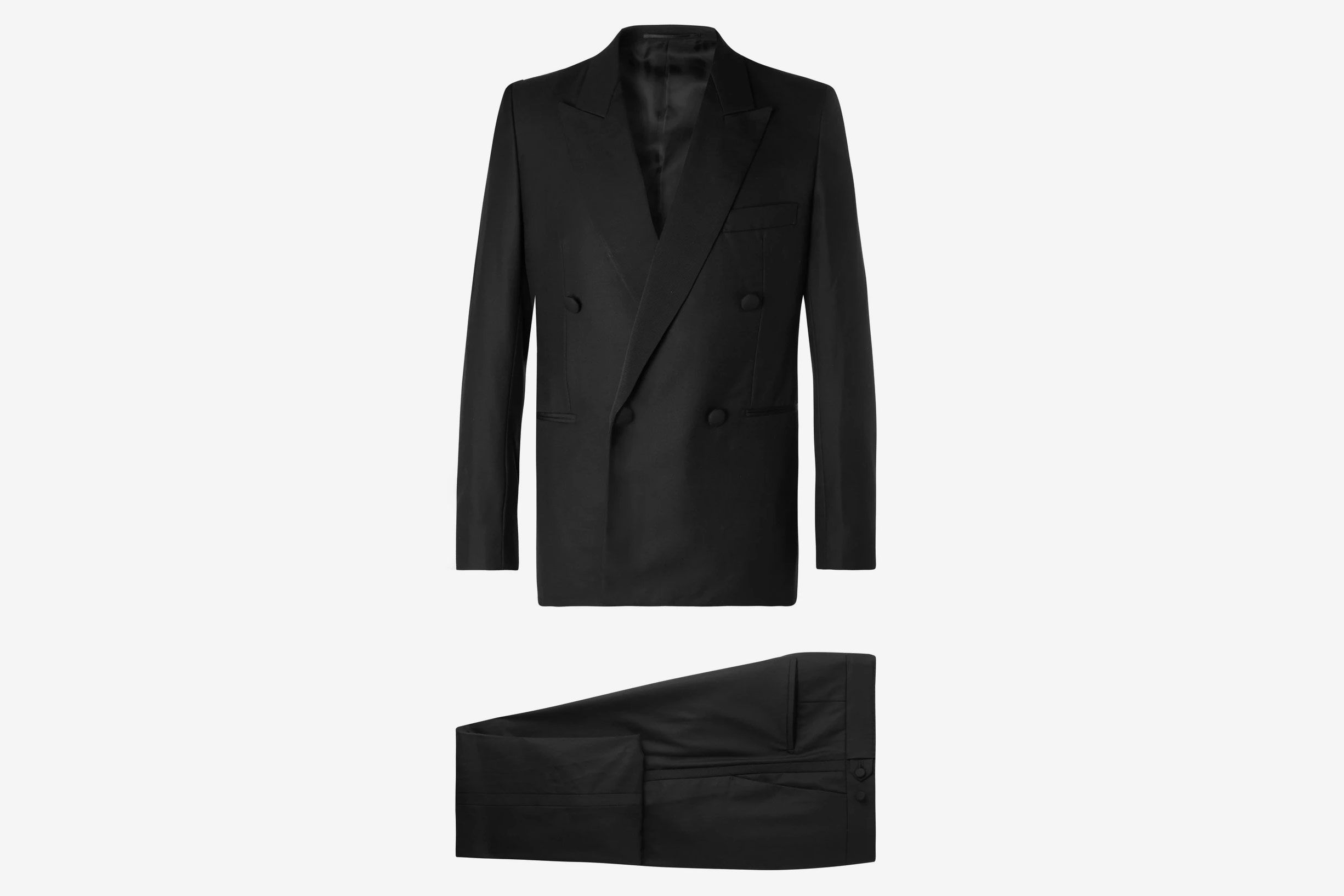 The Row Black Mark Slim-Fit Silk Grosgrain-Trimmed Escorial Wool Tuxedo