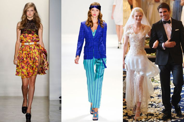 From left: spring looks from Peter Som, Luca Luca, and Imitation of Christ.