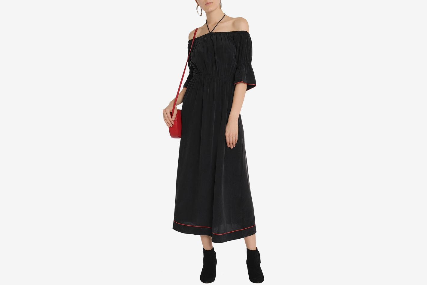 Ganni off-the-shoulder maxi dress