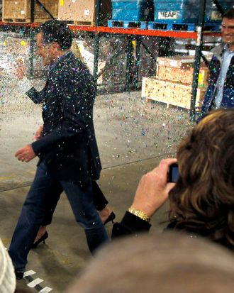 Romney being glittered.