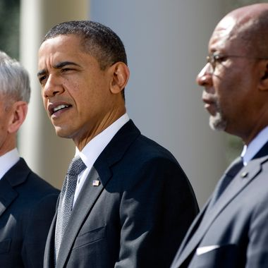 US President Barack Obama speaks alongside Commerce Secretary John Bryson (L) about enforcing US trade rights as he accused China of breaking global trade rules by restricting exports of rare earth elements during a statement in the Rose Garden of the White House in Washington, DC, March 13, 2012.