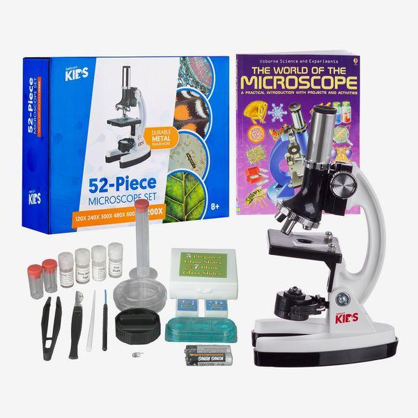 AmScope 1200X 52-pcs Kids Beginner Microscope Kit