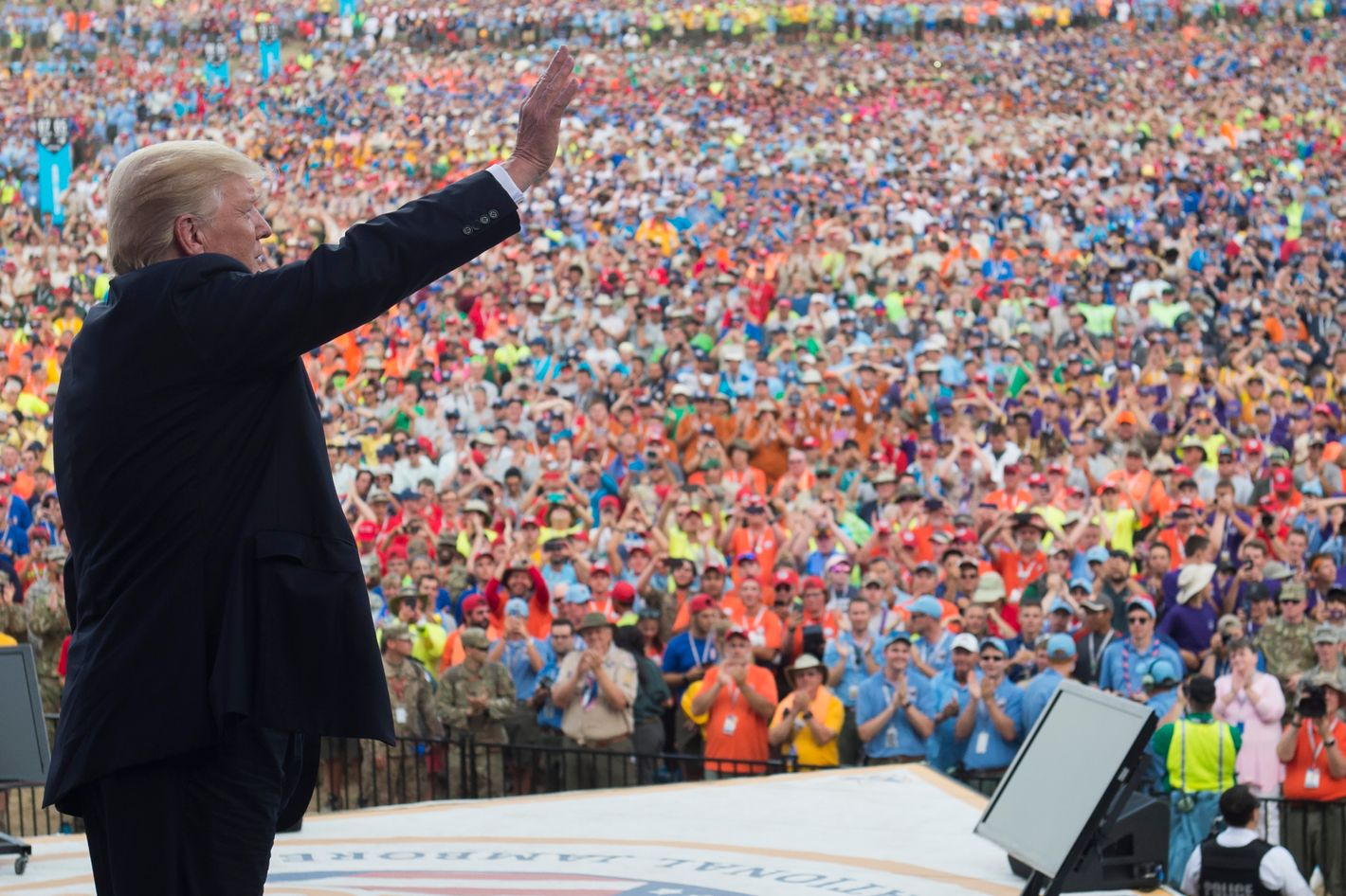 Image result for photo of trump at boy scouts event