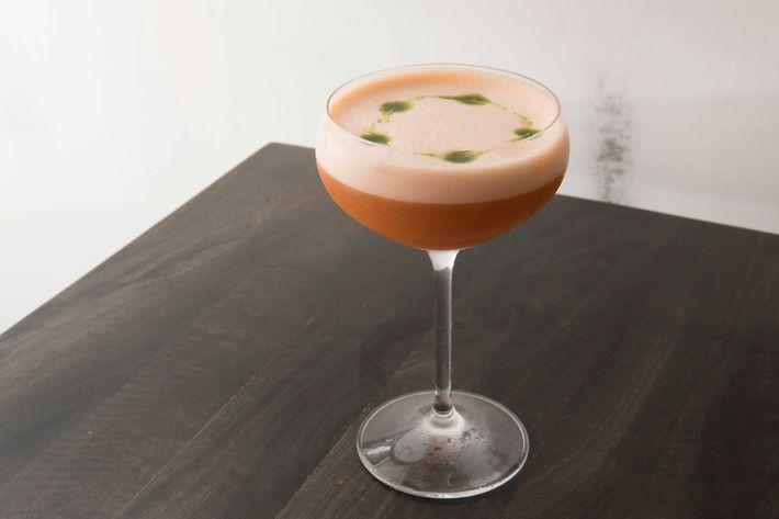 Roger Dodger: cinnamon-and-clove-infused vodka, velvet falernum, carrot shrub, ginger, and lime.