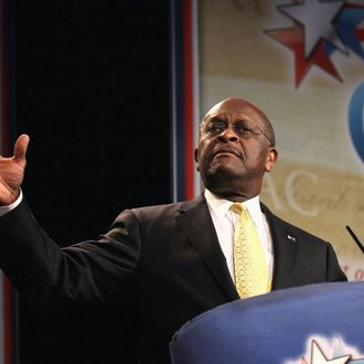 Former Republican Presidential Candidate Herman Cain speaks to guests at the Conservative Political Action Conference (CPAC) at the Donald E. Stephens Convention Center on June 8, 2012 in Rosemont, Illinois. CPAC is being hosted by the American Conservative Union.
