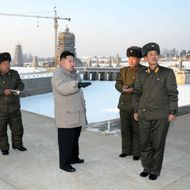 This undated picture, released from North Korea's official Korean Central News Agency on January 12, 2012 shows North Korean leader Kim Jong Un (C) inspecting the planned construction site for the Pyongyang Folk Park, undertaken by Korean People's Army service personnels in Pyongyang.