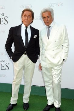 Valentino Garavani and Giancarlo Giammetti attend the Valentino Garavani Archives Dinner Party on July 7, 2010 in Versailles, France.