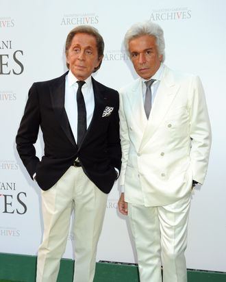 Valentino and Giancarlo Giammetti, moderately happy.