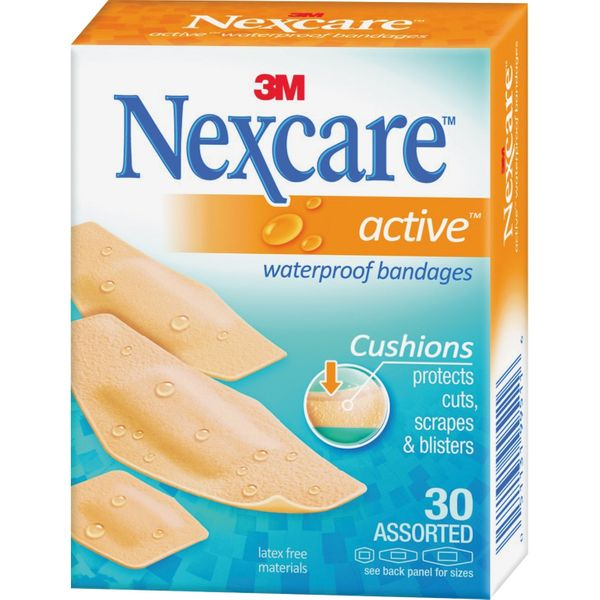 Nexcare Active Waterproof Bandages, Assorted Sizes