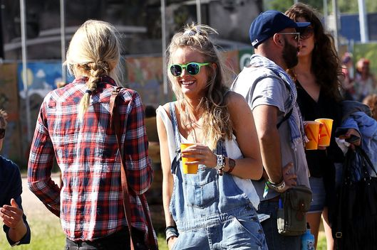 Cressida Bonas (R), Price Harry's girlfrend, attends day 3 of the 2013 Glastonbury Festival at Worthy Farm on June 29, 2013 in Glastonbury, England.