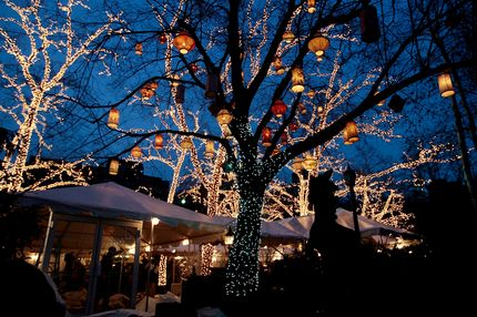 Trees are decked out with traditional lights and lanterns outside of the venerable Manhattan restaurant Tavern on the Green after sunset December 30, 2009 in New York City.  Tavern on the Green, located in New York's Central Park, will shut down after a final New Year's Eve dinner after 75 years in business and its famous chandeliers and other valuables are slated for auction.