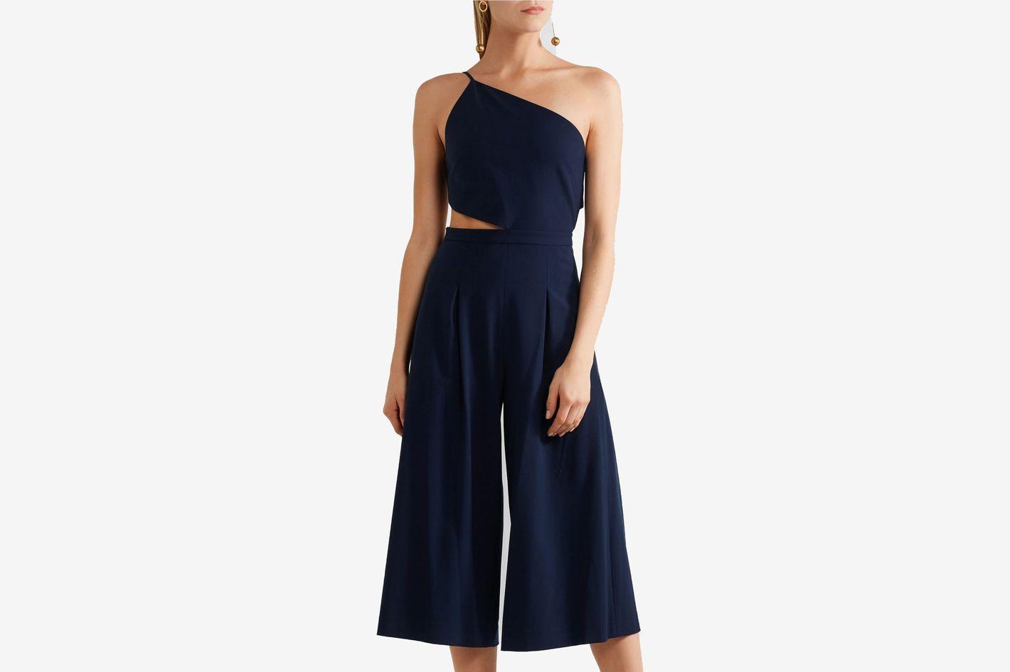 Michelle Mason One-shoulder cutout stretch-crepe jumpsuit