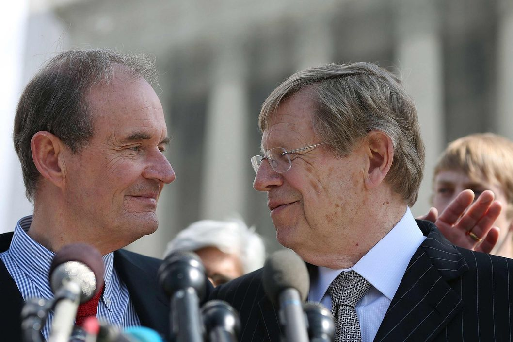 Plaintiff attorneys David Boies (L) and Ted Olson talk to the media after oral arguments at the U.S. Supreme Court, on March 26, 2013 in Washington, DC. Today the high court heard arguments in California's Proposition 8, the controversial ballot initiative that defines marriage as between a man and a woman.