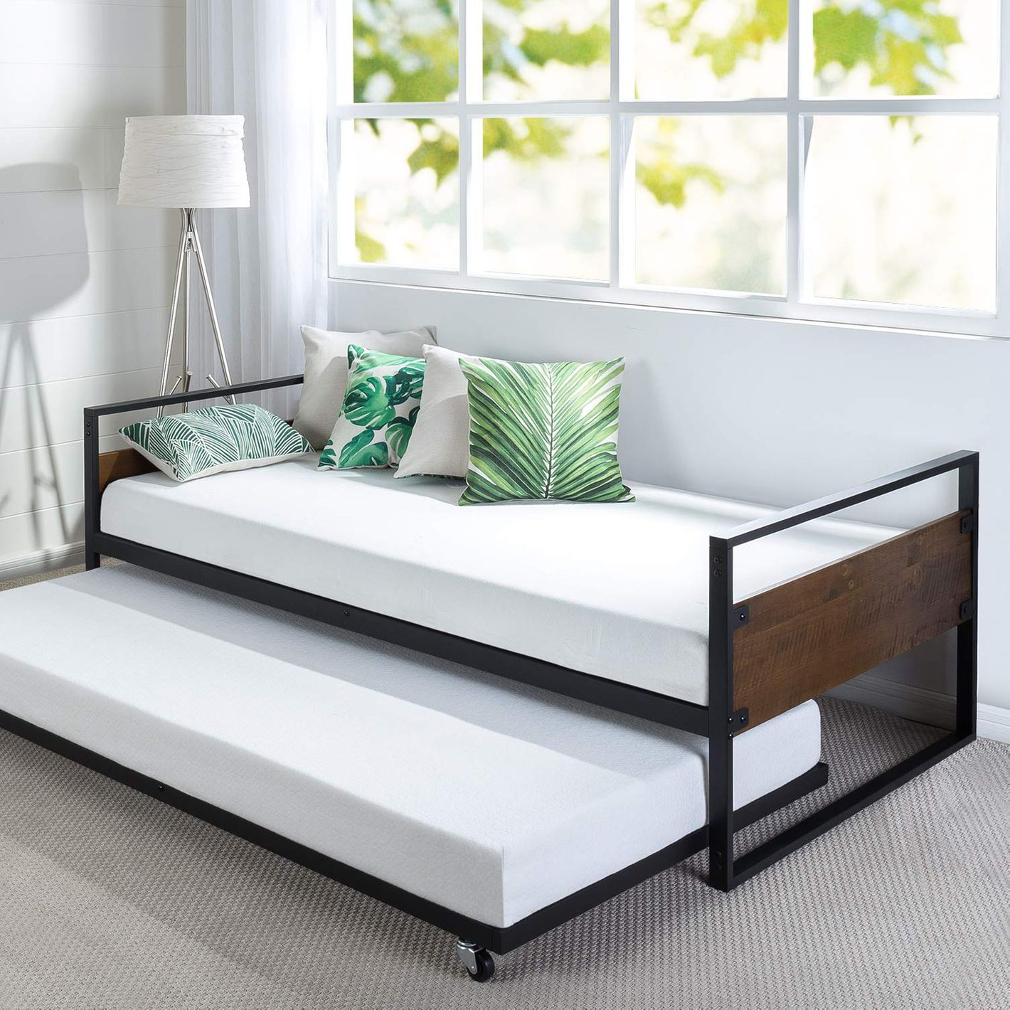 Zinus Ironline Twin Daybed and Trundle Frame Set