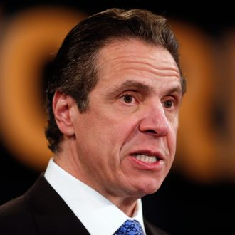 New York Gov. Andrew Cuomo delivers his State of the State address and executive budget proposal at the Empire State Plaza Convention Center on Wednesday, Jan. 21, 2015, in Albany, N.Y.