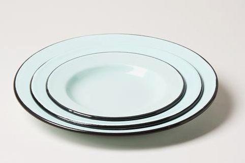 Seafoam Enamelware Plates