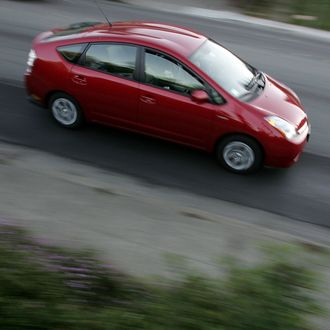 SAN ANSELMO, CA - OCTOBER 17: A Toyota Prius hybrid vehicle is seen driving down the street October 17, 2006 in San Anselmo, California. Economy and Hybrid vehicles built by Toyota and Honda filled the Environmental Protection Agency and the Department of Energy's annual top-10 fuel economy list for 2007 vehicles. The Toyota Prius topped the list with an estimated 60 mpg in the city and 51 mpg on the highway. (Photo by Justin Sullivan/Getty Images)