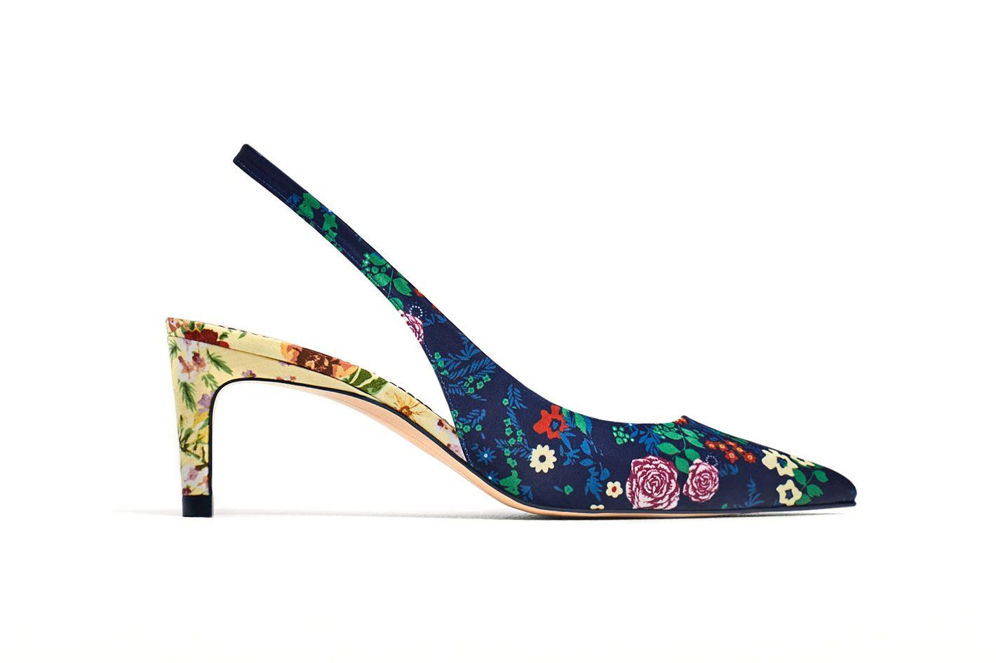 Zara Printed Slingback Kitten Heels