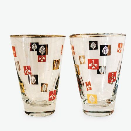 Mid-Century Painted Cocktail Tumblers