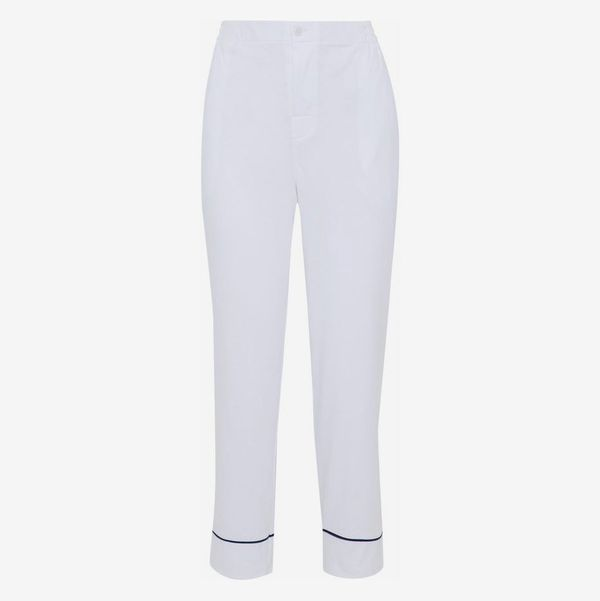 Cotton-Jersey Pajama Pants - strategist best white pajama pants with blue trim and button waist