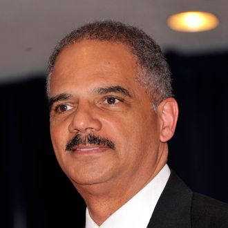 Attorney General of the United States, Eric Holder attends the 98th Annual White House Correspondents' Association Dinner at the Washington Hilton on April 28, 2012 in Washington, DC.