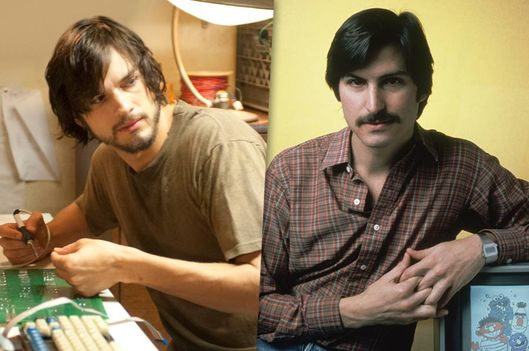 "Left: Ashton Kutcher in ""Jobs"" by Open Road Films, right: Steve Jobs in 1981 with an Apple II."