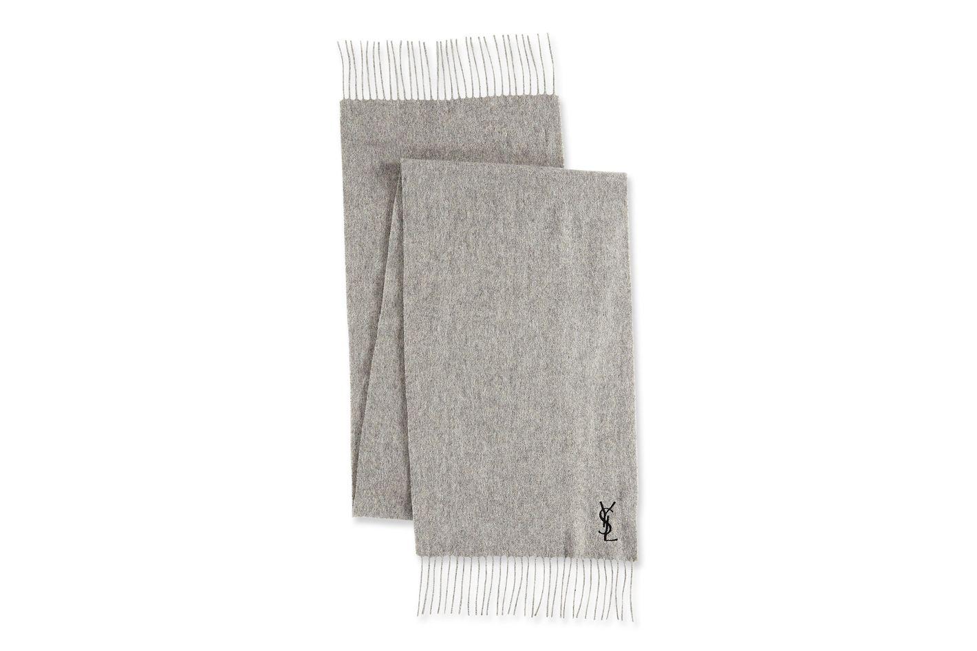 Saint Laurent Wool-Cashmere Contrast-Logo Scarf