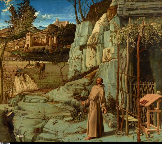 Giovanni Bellini (c. 1430 - 1516) St. Francis in the Desert, 1480oil and tempera on poplar panel49 in. x 55 7/8 in. (124.46 cm x 141.92 cm)Henry Clay Frick Bequest.Accession number: 1915.1.03
